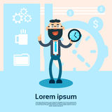Business Man Hold Alarm Clock Point Finger Up Working Timetable Concept. Flat Vector Illustration Stock Photos