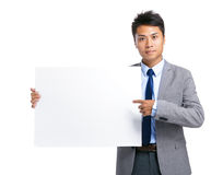 Business man hold with blank board Stock Photos