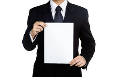Business man Hold blank placard isolated Royalty Free Stock Photos