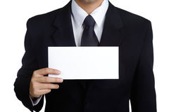 Business man Hold blank placard isolated Stock Image