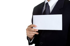 Business man Hold blank placard isolated Royalty Free Stock Image