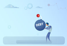 Business Man Hold Bomb Credit Debt Finance Crisis Concept. Flat Vector Illustration Royalty Free Stock Photos