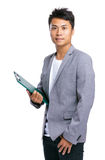 Business man hold clipboard Stock Photo