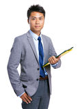 Business man hold clipboard Royalty Free Stock Image