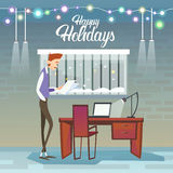 Business Man Hold Contract Celebrate Merry Christmas And Happy New Year Royalty Free Stock Photography