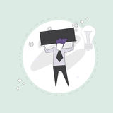 Business Man Hold Empty Banner Thin Line. Vector Illustration Royalty Free Stock Photography
