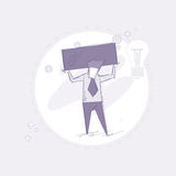 Business Man Hold Empty Banner Thin Line. Vector Illustration Stock Photography
