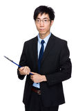 Business man hold with file pad Stock Photography