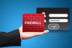 Business man hold firewall to protect login user Royalty Free Stock Photos