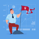 Business Man Hold Flag Successful Achievement Concept Royalty Free Stock Images