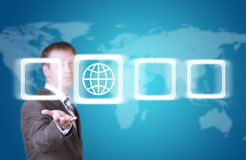 Business man hold frame with globe in hand Royalty Free Stock Images