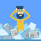 Business Man Hold Head Documents Paperwork Problem Concept. Flat Vector Illustration Royalty Free Stock Image