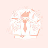 Business Man Hold Head Documents Paperwork Problem Concept Stock Image