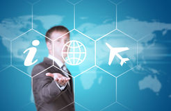 Business man hold icons Stock Image