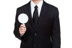 Business man hold label in isolated Stock Images