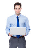 Business man hold with laptop Stock Photos
