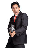 Business man hold Machine gun shoot isolated Royalty Free Stock Photos