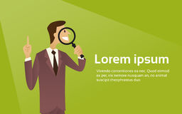 Business Man Hold Magnifying Glass Search Concept Copy Space Royalty Free Stock Photo