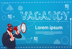 Business Man Hold Megaphone Vacancy Search Employee Position Human Resources Recruitment. Flat Vector Illustration Royalty Free Stock Photography