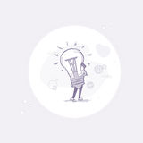 Business Man Hold New Idea Light Bulb Thin Line Stock Photography