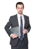 Business man hold with notebook computer Stock Photography