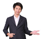 Businessman hold out one hand Stock Photography