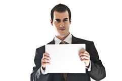 Business man hold paper. Isolated business man holding blank paper Royalty Free Stock Image