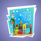 Business Man Hold Present Box Gift Merry Christmas And Happy New Year Celebration Office Interior. Flat Vector Illustration vector illustration