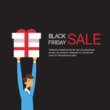 Business Man Hold Present Box Holiday Sale Black Friday Shopping Royalty Free Stock Images