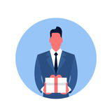 Business Man Hold Present Box Icon Stock Photography
