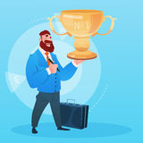 Business Man Hold Prize Winner Cup, Success Concept Stock Photo