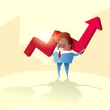 Business Man Hold Red Arrow Up Financial Success Concept. Flat Vector Illustration Royalty Free Stock Photography