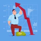 Business Man Hold Red Arrow Up Financial Success Concept. Flat Vector Illustration Stock Photo