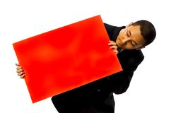 Business Man Hold Red Blank Card Royalty Free Stock Images
