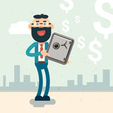 Business Man Hold Safe Money Security Concept. Flat Vector Illustration Stock Photography