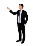 Business man hold something. Isolated business man hold something Royalty Free Stock Image
