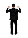 Business man hold something. Isolated business man hold something Stock Photo
