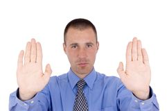 Business man hold symbol Stock Photo