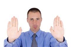 Business man hold symbol Stock Photo