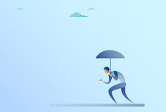 Business Man Hold Umbrella Stand Rain Protection Security Concept. Flat Vector Illustration royalty free illustration