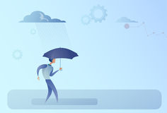 Business Man Hold Umbrella Stand Rain Protection Security Concept. Flat Vector Illustration vector illustration