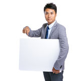 Business man hold with white board Stock Photography