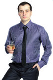 Business Man Holding A Glass Of Champagne Royalty Free Stock Photos
