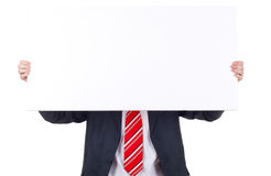 Business man holding banner Royalty Free Stock Photography