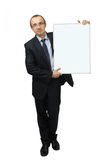 Business man holding banner Stock Photos