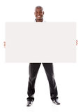 Business man holding  a banner ad Royalty Free Stock Images