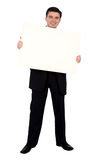 Business man holding a banner add Royalty Free Stock Photos