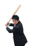 Business man holding baseball bat. Ready for a hit isolated on white background Royalty Free Stock Photos
