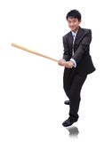 Business man holding baseball bat Stock Photos