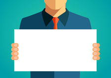 Business man holding a blank banner. Vector illustration Royalty Free Stock Image